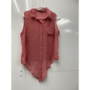 """""""BODY CENTRAL"""" Pink Button Down Large"""